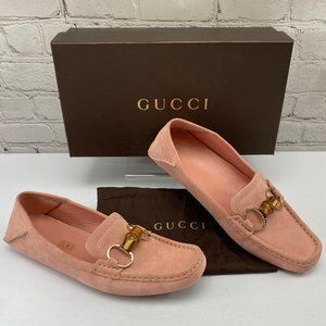 Gucci pink suede bamboo horsebit loafer 9B